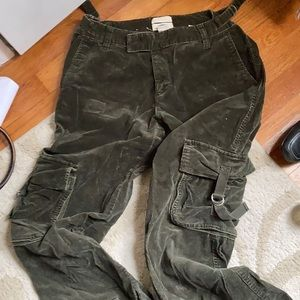 Corduroy cargo pants with drawstring ankle.